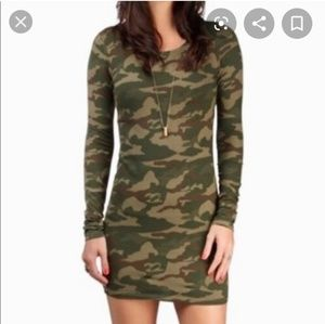 Billabong camouflage long sleeve bodycon dress s
